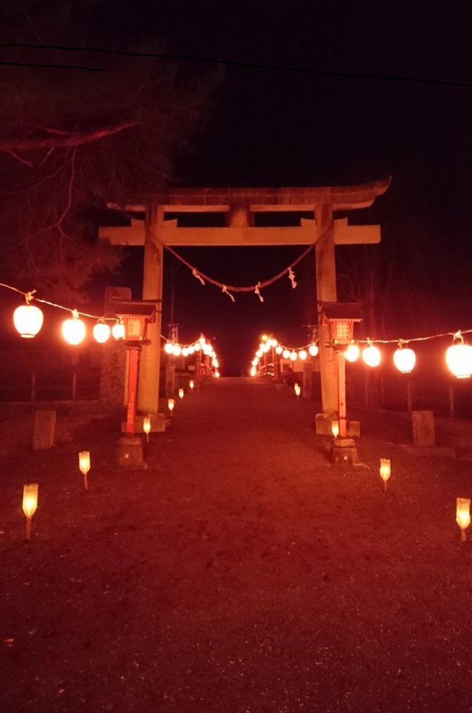 神社から見る不動橋。いつにも増して幻想的。