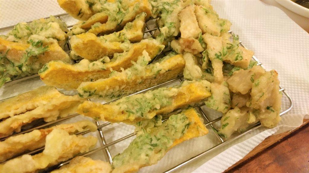 人参の葉っぱだけの天ぷらも食べたい。