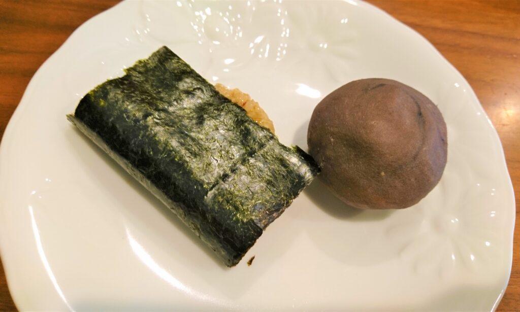 玄米餅でぼた餅&磯辺餅。